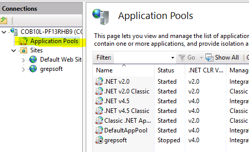 asp api IIS application pools