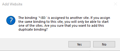 asp api IIS binding error